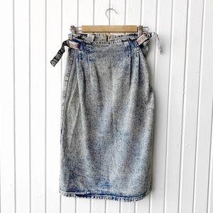 Vintage 90s Acid Wash Denim Skirt